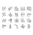 disability with technology line icon set vector image vector image