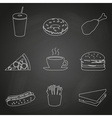 fast food restaurant outline icons on black board vector image