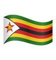 flag of zimbabwe waving on white background vector image