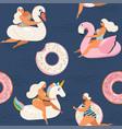 flamingo unicorn swan and sweet donut inflatable vector image vector image