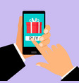 gift app page on smartphone screen vector image vector image
