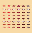 glamorous glossy shining female lips in red colors vector image