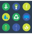 Green energy and recycling icons set vector image vector image