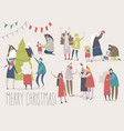 happy cartoon people celebrate christmas joyful vector image