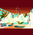 hotel terrace on tropical beach cartoon vector image