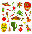 isolated colorful stylish elements about mexico vector image