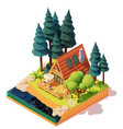 isometric a-frame house in wood vector image