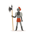 knight full body armor suit standing with axe vector image vector image