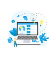 laptop online education app e-learning concept vector image vector image