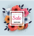 modern wanner with red paper flowers for spring vector image vector image