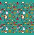 new year christmas objects blue seamless pattern vector image