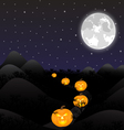 night landscape under a full moon on Halloween vector image