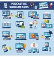 Podcasting and webinar icons set vector image