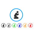 pray pose rounded icon vector image vector image