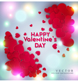 red hearts on a bright luminous background vector image vector image