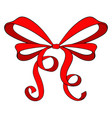 red ribbon bow vector image vector image