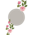 rustic circle style with roses and branches leaves vector image vector image