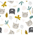 seamless childish pattern with funny leopard faces vector image vector image