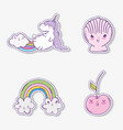 set cute unicorn with kawaii apples and shell with vector image