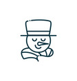 snowman happy christmas line icon vector image