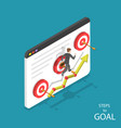 steps to goal isometric flat concept vector image vector image