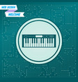 synthesizer icon on a green background with vector image