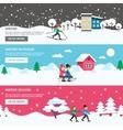 Winter Season 3 Flat Banners Set vector image vector image