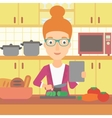 Woman cooking meal vector image vector image