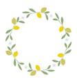 wreath of leaves lemon and lemon blossoms on vector image vector image