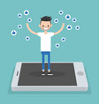 young successful man standing on mobile screen vector image vector image