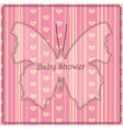 Baby-shower-butterfly-stripes-pink vector image vector image