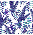 blue tropical flowers and palm leaves seamless vector image vector image