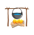 boiler with camping campfire place boiler and vector image vector image