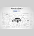 boost sales concept with business doodle design vector image vector image