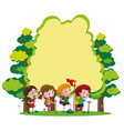 border template with kids hiking in woods vector image vector image