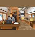businessman traveling in a luxurious private jet vector image