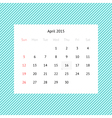 Calendar page for April 2015 vector image vector image