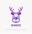 cartoon christmas reindeer thin line icon vector image
