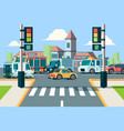 city road traffic urban landscape intersection vector image vector image