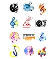 Colorful musical icons set vector image