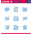 corona virus 2019 and 2020 epidemic 9 blue icon vector image vector image