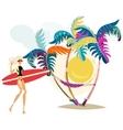 Cute surf girl on the beach vector image vector image