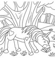 cute unicorn for coloring art line vector image