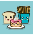 fast food cartoon cake bread and fries design vector image