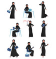 flat set of muslim business woman in vector image