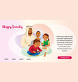 happy muslim family web page template vector image