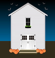 House with pumpkins and bats Night Halloween vector image