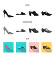 isolated object of footwear and woman symbol set vector image vector image