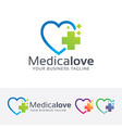 medical love logo design vector image vector image