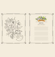 menu set of vegetables vector image